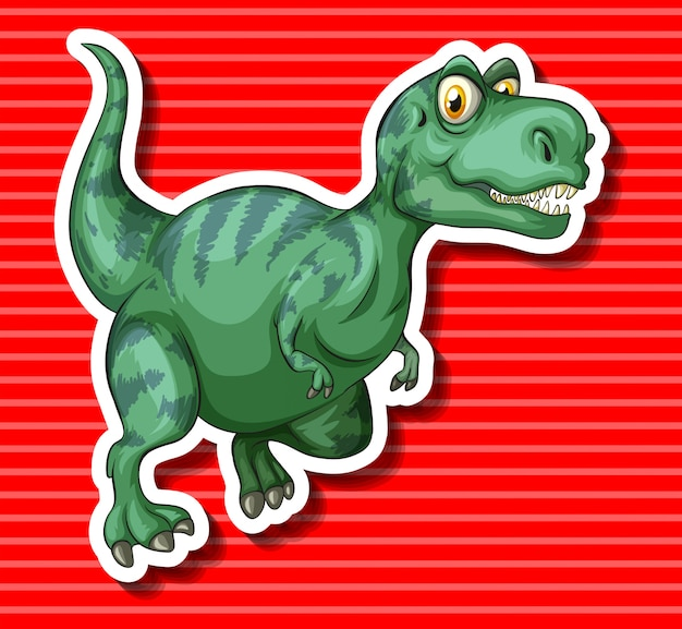 Green t-rex running alone