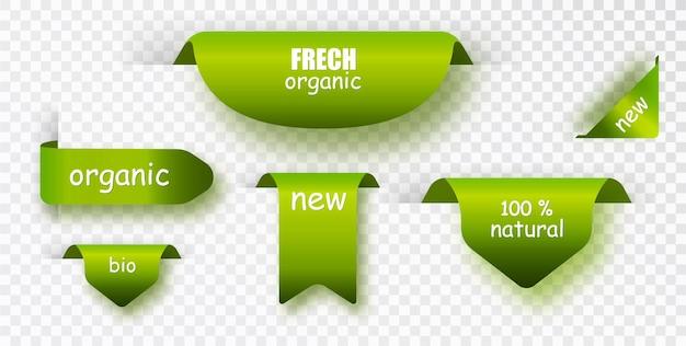 Etichette verdi. accumulazione di vettore di etichetta naturale. impostare banner isolati.