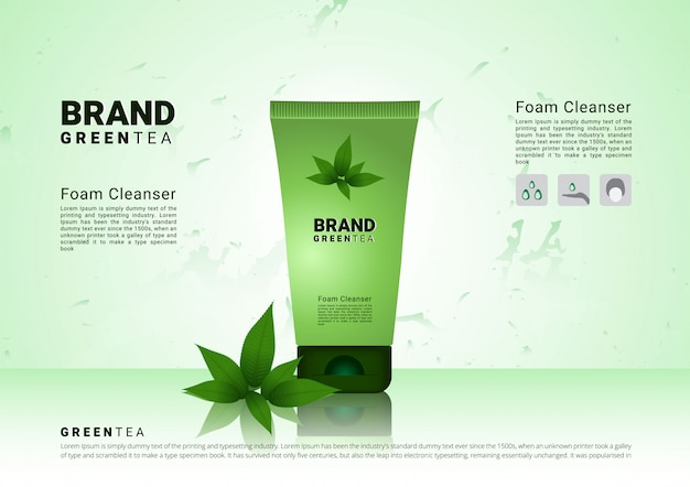 Green tea cleansing foam with soft