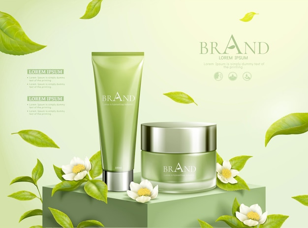 Green tea cosmetic ads with leaves flying in the air, 3d illustration
