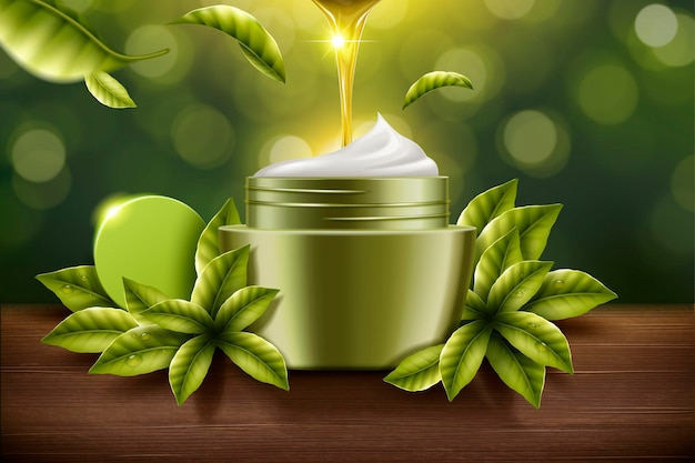 Green tea cream product with serum dripping down and ingredients around it in 3d illustration