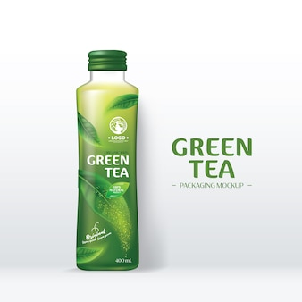 Green tea drink packaging mockup realistic green tea leaves