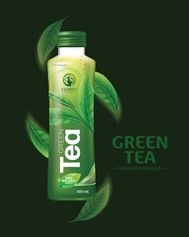 Мокап упаковки напитка зеленого чая реалистичные листья зеленого чая