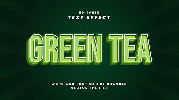 Редактируемый текстовый эффект зеленого чая