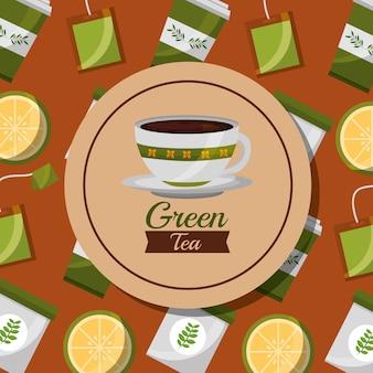 Green tea foral ceramic cup and lemon teabag background