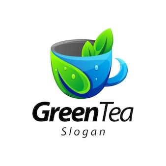Зеленый чай градиент цветной дизайн логотипа