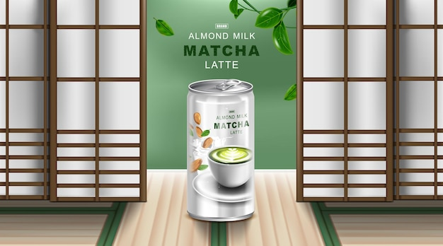 Green tea latte and almond milk in aluminium can with japanese background