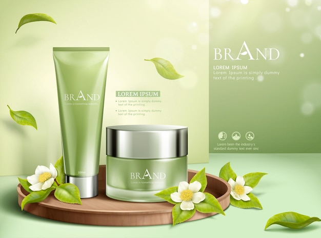 Green tea leaves cosmetic ads with shimmering effect in 3d illustration