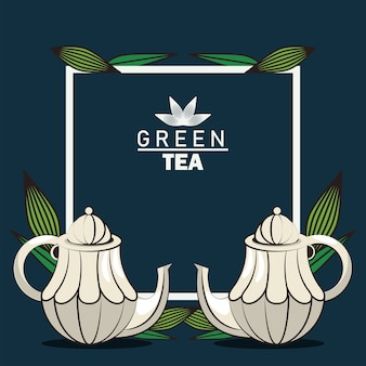 Green tea lettering poster with teapots in square frame