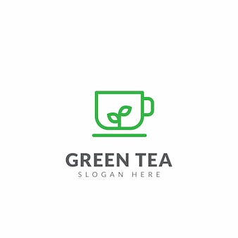 Green tea logo or icon vector design template with tea cups and leaves