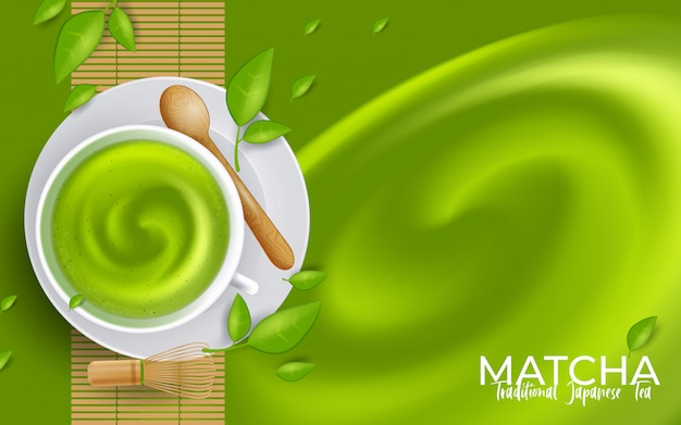 Green tea matcha latte cup with copyspace. illustration