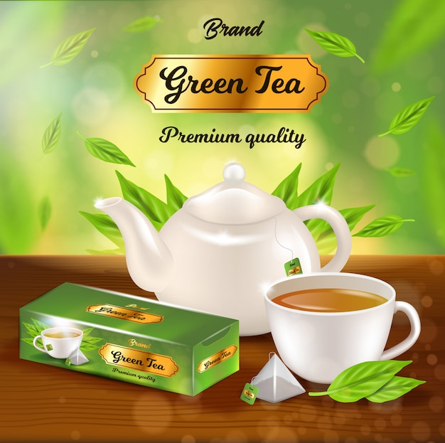 Green tea promo banner, white porcelain pot, pack