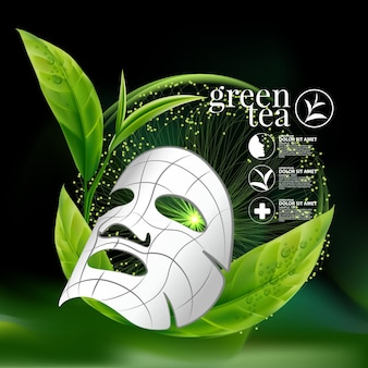 Green tea serum concept cosmetic for skin