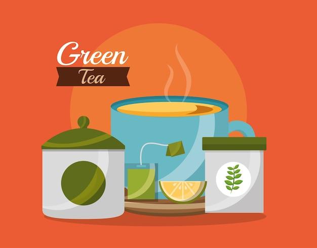 Green tea time cup and sugar lemon teabag herbal