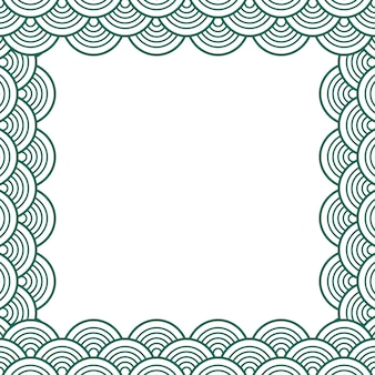 Green teal traditional wave japanese chinese border