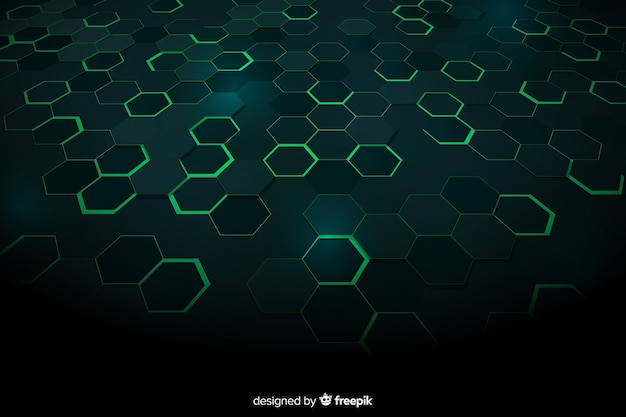 Green technological honeycomb background