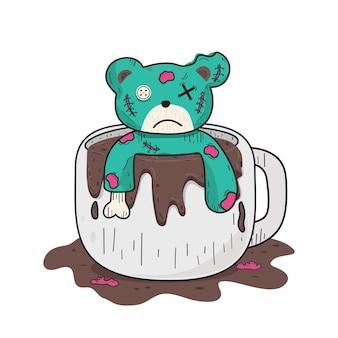 白いコーヒーカップの緑のテディベアベクトルクリップアートイラスト