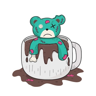 Green teddy bear in white coffee cup  vector clip art illustration