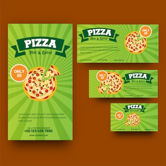 Green template or coupon set for pizza or fast food corner.