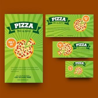 Зеленый шаблон или купон для пиццы или быстрого питания.