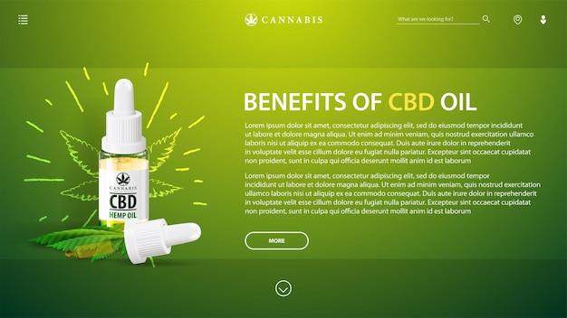 医療用cbdオイルと麻の葉のガラス透明ボトルと緑のテンプレート。大麻、麻、マリファナからのcbdのコピースペースと健康上の利点を備えたwebテンプレート