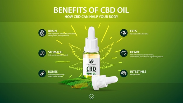 Green template with white bottle of medical cbd oil, green template with infographic of health benefits of cbd from cannabis, hemp, marijuana
