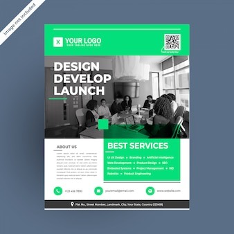 Green tempting modern corporate flyer