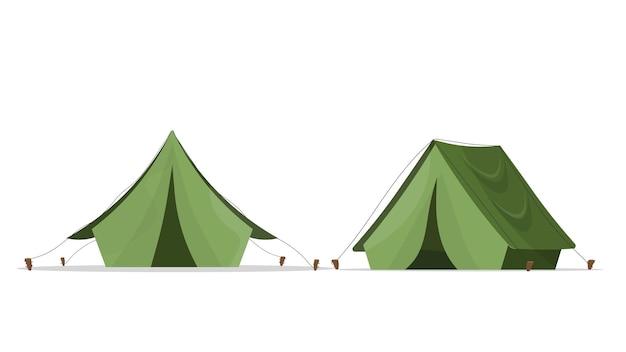 캠핑을위한 녹색 텐트. 흰색 배경에 고립. .