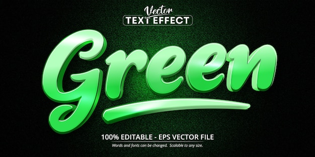 Green text, calligraphy style editable text effect