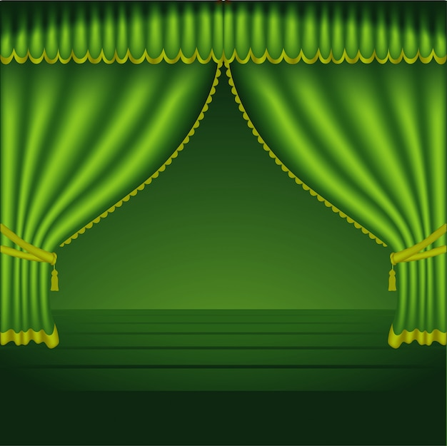 Green theater curtains