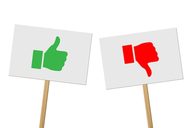 Green thumbs up and red thumbs down signs on banners on wood sticks, protest signs on white background.