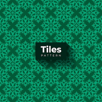 Green tiles pattern with ornamental shapes