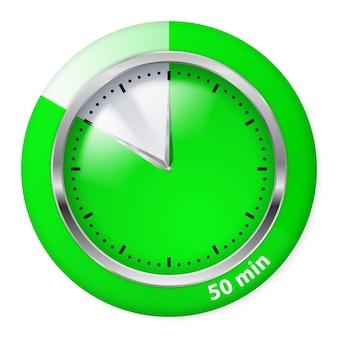 緑のタイマーアイコン。 50分。白のイラスト。