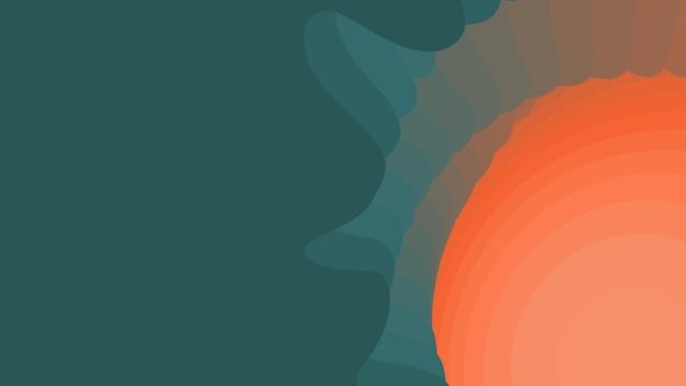 緑からオレンジ色の紙の層。 3d抽象的なグラデーションペーパーカット。