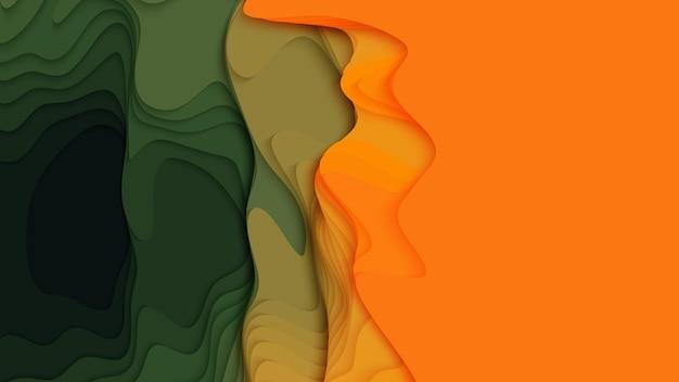 緑からオレンジ色の紙の層の背景