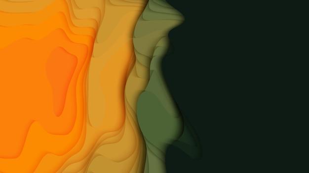 緑からオレンジ色の紙の層。