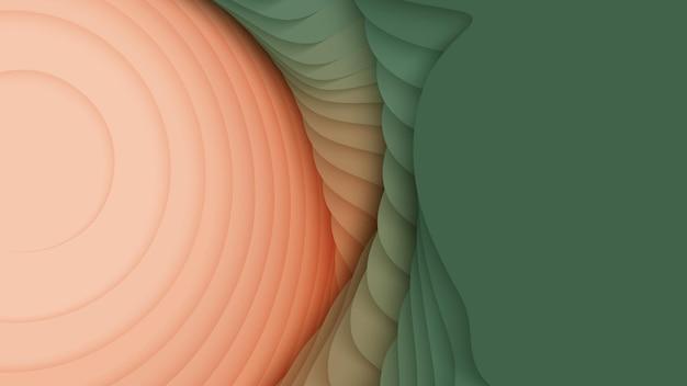 Слои бумаги от зеленого до оранжевого