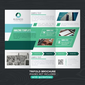 Green tones abstract business trifold brochure template