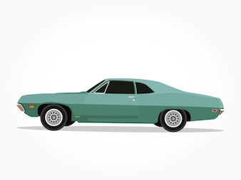 Green tosca classic sedan car cartoon with detailed side and shadow effect