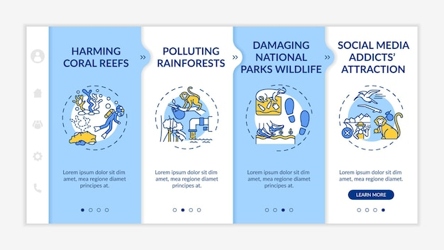 Green tourism challenges onboarding vector template. responsive mobile website with icons. web page walkthrough 4 step screens. harming coral reefs color concept with linear illustrations