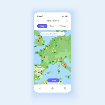 Green tourism smartphone interface vector template