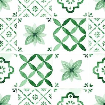 녹색 전통 타일 수채화 원활한 패턴