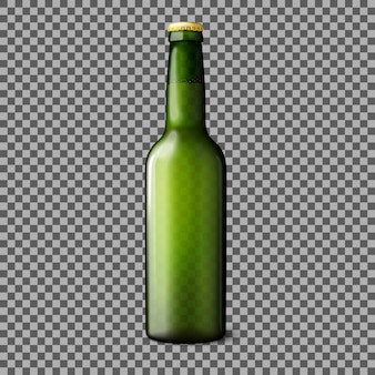 Green transparent realistic beer bottle