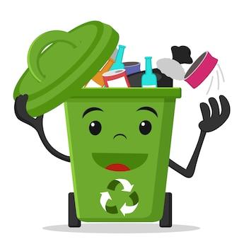 Зеленый мусорный бак с мешком для мусора на белом.