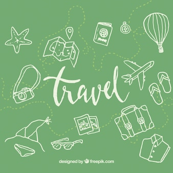 Green travel elements background