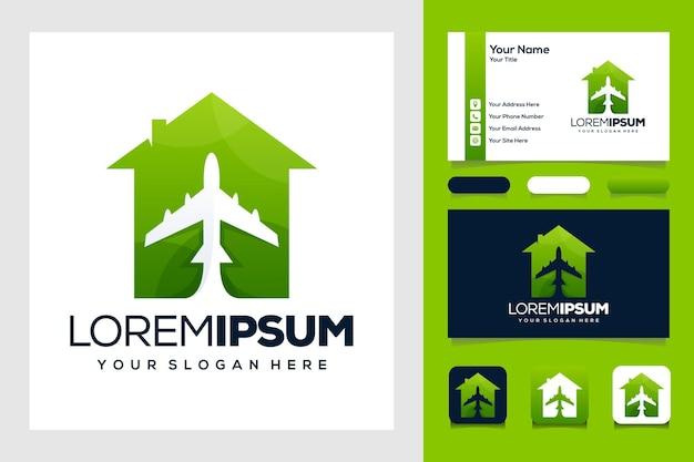 비행기 및 홈 로고 디자인 및 명함이 있는 녹색 여행