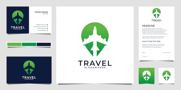 Green travel with plane and pin, logo design and business card