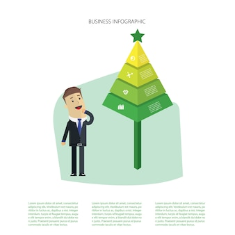 Green tree of business infographic with a businessman