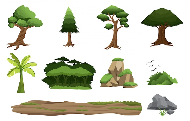 Green tree and forest elements collection set
