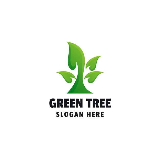 Зеленое дерево градиент красочный шаблон логотипа